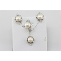 Wholesale Popular Competitive Pearl Ornament Sets Cheap Pearl Jewelry Set Silver Jewelry Set Unique Design
