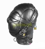 Leather Sex Headgear sensory deprivation bondage hood with L...