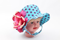 Girl Summer Crochet Hats Wholesale-52cm Buck Hats ! Summer 2014 Hot Accessory Baby Bucket Hat with Strap Big Flower Girls Sun Hat Polka Dots Pattern