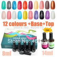Pinks shellac nail polish - 12 colors shellac gel soak off UV gel polish free base coat top coat nail art kit