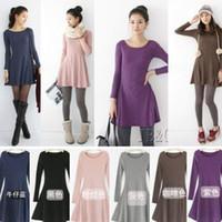 Wholesale Hot sale Autumn and Winter cotton blend jersey dress Korean large size long sleeve knitted dresses warm plus size XXL XXXL XXXXL