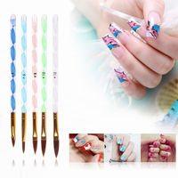 Yes Manicure Set 7 IN 1 5pcs Set Hot Designs Professional Nail Art Acrylic Pen NO.4 6 8 10 12 Liquid Powder Tool Carving Brush Cuticle Pusher