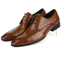 Wholesale Europe station pointed leather shoes men pure leather lace to create work wear wedding dress toe skin of
