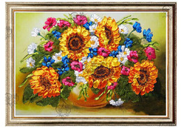 New Arrival Unfinished 3D Ribbons Embroidery Flower Paintings Sets Handmade Needlework Embroidery kits- Sunflower