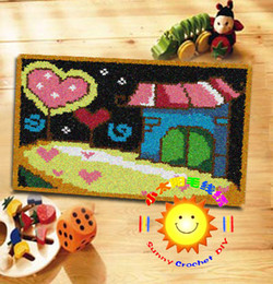 Wholesale DIY Mat Needlework Kit Unfinished Crochet Hook Yarn Cushion Embroidery Carpet Home At Night SD