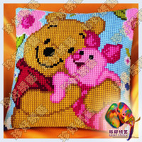 Wholesale DIY Needlework Kit Unfinished Crewel Work Woolen Embroidery Pillowcase Cross Stitch Bear and Pig HS