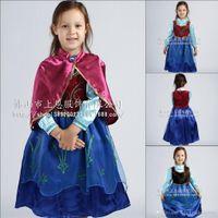TuTu Spring / Autumn A-Line 2014 Fall Frozen Dresses Cartoon Princess Elsa Costume High Neck Long Sleeve Girls Pageant Dresses Fashion Children Dresses BO6805