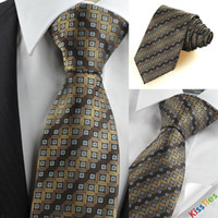 Neck Tie Bronze  New Brown Bronze Coin Checked Antique Rare JACQUARD Men's Tie Necktie Gift KT0079