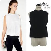 Sleeveless Regular Polyester 2014 fallWholesale European Clothing New 2014 Summer Hot Sale CPW Women Office Shirt Fashion Casual Chiffon Tank Blouse Black Gray White