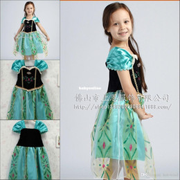 Wholesale Frozen Anna Elsa Cosplay Dresses Cap Sleeve Embroidery Organza A Line Princess Party Girls Pageant Dresses Children s Dresses BO6801