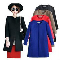 Cheap 2014 spring new women wool coat black blue red khaki woolen overcoat with round collar outerwear full sizewinter coat