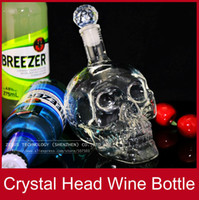 Mini Glass Hip/Kidney Flask Wholesale-Novelty items Unique Gifts Mini Liquor Crystal Head Shot Skull Glass Wine Corked Bottle Flasks For Vodka Whisky FREE SHIPPING
