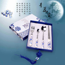 Wholesale Chopstick set Chinese Dinnerware China Wind Tableware Blue and White Porcelain Set Business Gift Ceramic Chinaware