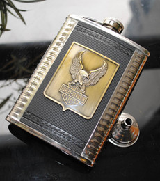 Wholesale oz Stainless Steel Hip Flask Alloy Eagle Logo Plus one Funnel BS8EAG