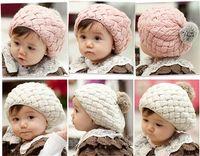 baby boy gift items - MOQ Baby Item Lovely Cream Beret Baby Cute Winter Knit Crochet Beanie Hat Baby Kids Girls Gift TM009