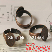 Wholesale Free shiping mm Glue Pad Antique Copper Jewelry IDY Adjustable Ring Blank Findings Ring Base Accessories