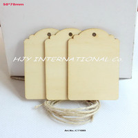 wood craft - Plain blank Wooden Tags wood bookmark card making gift crafts decorations with string hanging wooden CT1089