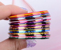 Wholesale 2014 New Mixed Colors Nail Rolls Striping Tape Line DIY Nail Art Tips Decoration Sticker Nails Care b4