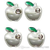 Charms apple bracelet charm - 10pcs quot Apple quot floating charms DIY charms for necklace bracelets fashion charms accessories glass Locket charmsLSFC099