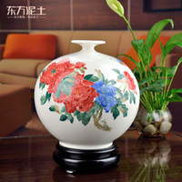 Wholesale Oriental colorful hand painted porcelain clay upscale gift ornaments antique living room peony vase D10