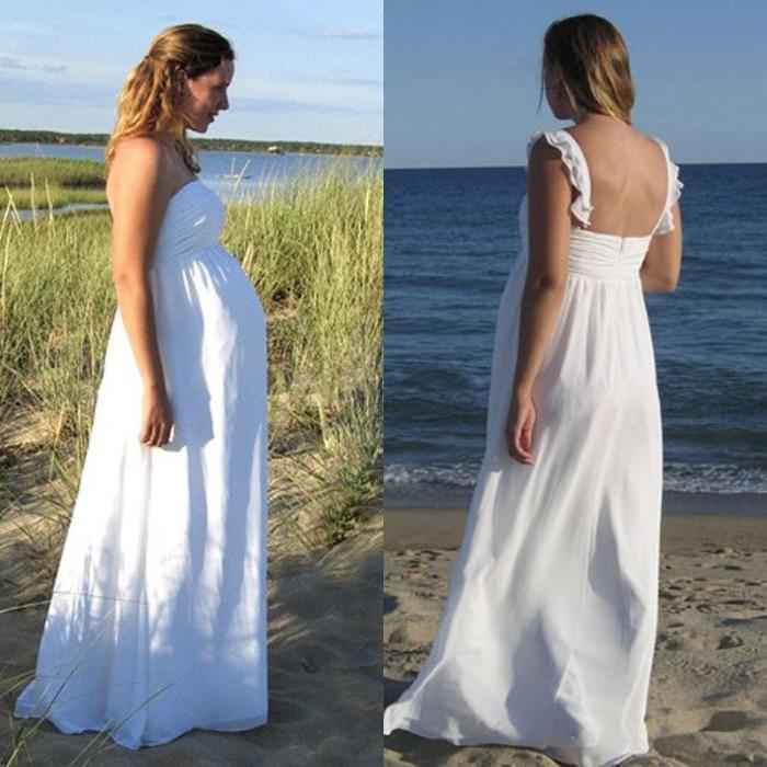 2015 wedding dresses plus size beach maternity a line for Plus size maternity wedding dresses cheap