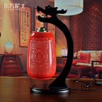 Wholesale Oriental ceramics clay ornaments creative lighting new home decorative handicrafts nightstand lamp lights red hollow bottle