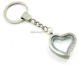30mm Silver Heart magnetic glass locket keychains floating charm locket Zinc Alloy+half RhinestoneLSFK05