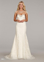 Wholesale Lace Fit to Flare with Strapless Jewel Encrusted Neckline Wedding Dresses Crystal and Alabaster Detachable Bolero and Chapel Train Bridal G