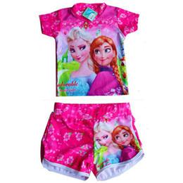Wholesale Frozen Kids Swimwear Slim Fit Baby Girls Swimsuit Pieces Children Swimsuit Set Top Fashion