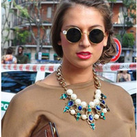 Wholesale Details about FASHION WOMEN CRYSTAL FLOWER CHOKER BIB STATEMENT NECKLACE PENDANT COLLAR CHAIN