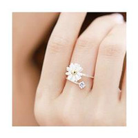 Wholesale discounts elastic ring small alloy flower finger ring