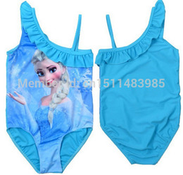 Wholesale instock baby girls frozen Elsa princess one piece swimsuit children girl s swimming bathing suit snow queen bikini swimwear blue