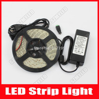 Wholesale LED Strip Light SMD Flexible LED Light Ribbon Tape Neon Lamps m leds V Waterproof A Adapter DC Connector