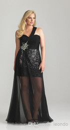 Wholesale Hi Low Silhouette Ruched One Shoulder Plus Size Prom Evening Dresses Sequins Skirt Revealed Beneath a Sheet Layer of Sheer Chiffon Gowns wj