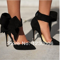 Wholesale New fashion women bow tie pump pointed toe high heel dress shoes red pink blue black suede leather sandals