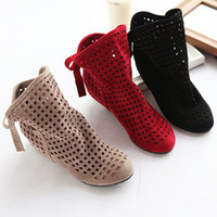 Knight Boots gladiator - ENMAYER Red Beige Black Big Size Gladiator Cutout Flat Round Toe Low Hidden Wedges Women s Summer Ankle Boots