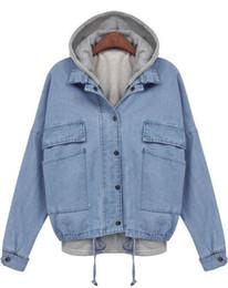 Wholesale 2014 New Spring Winter Women s Clothing Jacket Work Wear Brand Name Fashion Blue Hooded Long Sleeve Drawstring Denim Outerwearwinter coat