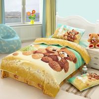 100% Cotton bear comforter - Teddy bear cartoon cute bedding comforter set for Kids children twin size bedspread duvet cover bed in a bag sheet bedroom designer linen
