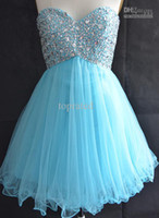 Reference Images Chiffon Strapless Heimkehr Kleider Real Image Blue Corset Sweetheart Neck Strapless Homecoming Dresses Organza Short Mini Crystal Beaded Prom Dresses Dress ZZ