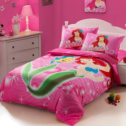 The little Mermaid hot pink Kids girls cartoon bedding comforter set twin size bedspread duvet cover bed in a bag sheet bedroom bedsheet