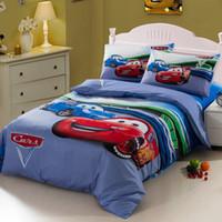 Wholesale Race Car Kids boys bedding comforter set for twin size cartoon bedspread duvet cover bed in a bag sheet bedroom bedsheet bedclothes blue