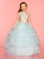 Wholesale Princess Beauty Ball Gowns Halter Sequin Bodice and Natural Waistline with Beaded Flowers Little Girls Pageant Frock Girl s Pageant Dresses