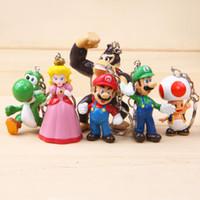 venda por atacado bonecos de plástico-Frete Grátis plástico Super Mario 6pcs / set Bros PVC Figuras de ação Brinquedos Bonecas Super Mario Key fivela chaveiro