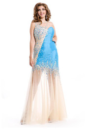 Wholesale Long Plus Size Prom Dresses Sheath Taffeta and See Through Soft Tulle Turquoise Nude Colorful Crystal Special Occasion Gowns New
