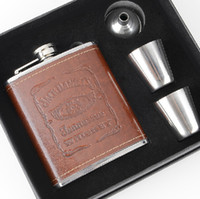 Wholesale High Quality Portable oz Stainless Steel Liquor Alcohol Whiskey Jack Daniel JD Hip Flask Set with Brown PU Leather