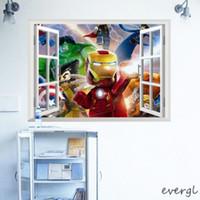 Wholesale Hero LE GO Iron Man Hulk D Window Wall Sticker Decal Kids Boys Room Decor Mural