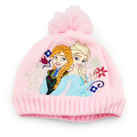 Wholesale new brand winter frozen hat pp cotton and The embroidery anna and elsa cap baby chiildren student hats af76