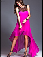 Wholesale Fashion Forward Hi Low Evening Dresses Softly Sweetheart Shape Leads to Flowing all over Pleated Fuchsia Pregnant Formal Gown Maternity