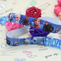 Wholesale 5 inch Fold Over Elastic FOE frozen printed ribbon headband diy hair band OEM H2018