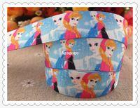 Wholesale 2013 new arrival mm frozen princess printed grosgrain ribbon character ribbon hair accessories yards WQ102